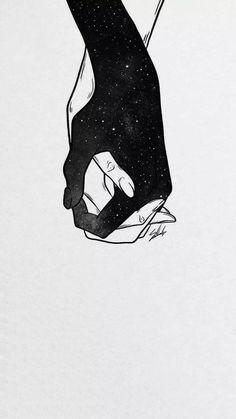 Couple Wallpaper, Dark Wallpaper, Galaxy Wallpaper, Art Sketches, Art Drawings, Cute Couple Art, Art Sketchbook, Aesthetic Art, Love Art