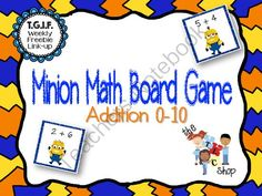 FREE! Minion Addition Board Games from The T.L.C. Shop on TeachersNotebook.com -  (4 pages)  - Printable game that's perfect for small group and centers. These game boards target addition to 10.