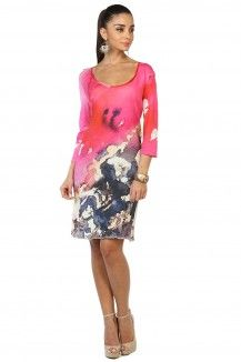 Pink Prints Highlighted Multicolored Dress  Rs. 1,845