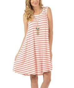 Another great find on #zulily! Coral White Thin Stripe Dress - Plus #zulilyfinds