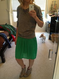 henning love - grey sweatshirt, green pleated skirt, booties