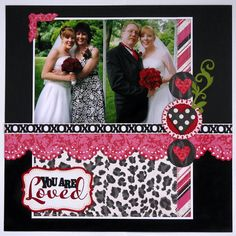 A scrapbook layout by Mendi Yoshikawa using Echo Park Love story collection and SVG cutting files designed by Lori Whitlock.