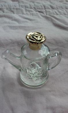 Avon Glass Roses Cologne Watering Can Bottle Goldtone Rose Cap  | eBay