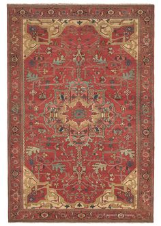 Serapi, 8ft 0in x 11ft 6in, 3rd Quarter, 19th Century.  With an sophisticated ambiance and unusually fine weave for a 19th century Persian Serapi antique carpet, this best-of-the-best quality, artistically virtuoso antique Oriental rug has a captivating effect on its viewer.