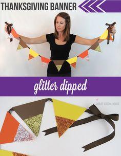DIY Glitter Dipped Thanksgiving Banner