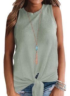 Womens Casual Tops Sleeveless Cute Twist Knot Waffle Knit Shirts Tank Tops - Small / Light Green