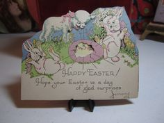 Adorable 1930's die cut Rust Craft mechanical easter by puffadonna