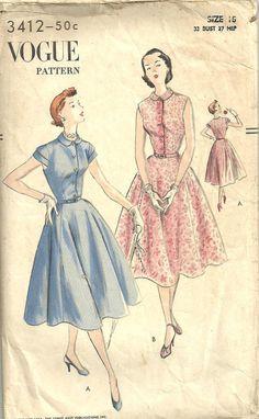 Vogue 3412 // Vintage 50s Sewing Pattern // by studioGpatterns