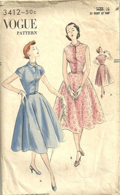 Vogue 3412 // Vintage 50s Sewing Pattern // by studioGpatterns