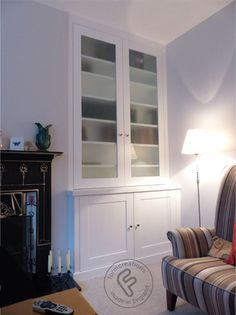 We installed this alcove cabinet with shelving above with glass doors in a property in Forest Hill. Living Room Cupboards, Built In Shelves Living Room, Living Room Storage, Home Living Room, Living Room Designs, Alcove Cupboards, Built In Cupboards, Alcove Storage, Front Room Decor