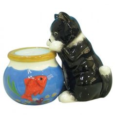 Cat And Fishbowl Salt and Pepper Shakers