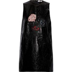 GANNI Embroidered patent-leather mini dress (1.525 RON) ❤ liked on Polyvore featuring dresses, black, stretch dresses, short colorful dresses, stretchy dresses, short loose dresses and multicolor dresses