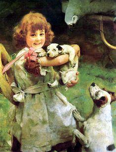 Arthur John Elsley ~ More Frightened Than Hurt, 1890