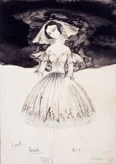 costume design for Giselle, act II, 1964