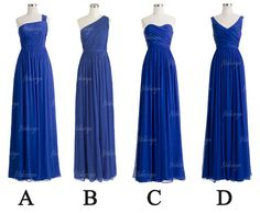 long bridesmaid dress royal blue bridesmaid dress by fitdesign, $119.00.  They would need to be cut to the knee