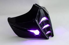 Another version mask of Sub zero in black from Injustice The mask contains three purple LEDs. Gas Mask Art, Masks Art, Mouth Mask Fashion, Injustice 2, Sub Zero, Cool Masks, Fantasy Weapons, Mortal Kombat, Cool Things To Buy