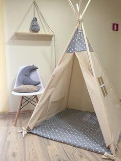 Gray raindrops kids teepee play tent Natural Canvas Plain Kids Teepee Kids Play Tent & StoffzeltSpielzeltKids tipi | Kid and Products