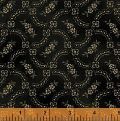 """First Ladies - Nancy Gere - Windham Fabrics 36231 8 Black Floral 100% Cotton 44-45"""" wide 1800's Reproduction Fabric"""