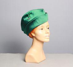 vintage green satin 50s elevator girl hat