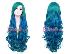 80cm-Long-Mixed-Teal-Green-Blue-Sweet-Curly-Wavy-Cosplay-Hair-Wig-A-Cap-zy121