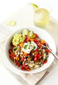 Vegetable Burrito Bowls with Cauliflower Rice from http://blissfulbasil.com on http://foodiecrush.com