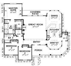 Floor Plans AFLFPW21292 - 1 Story Country Home with 3 Bedrooms, 2 Bathrooms and 1,965 total Square Feet