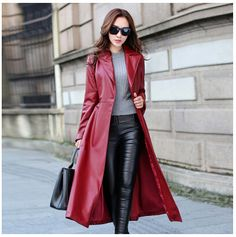 Long red leather coat paired with black leather pants