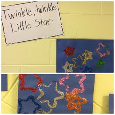 Twinkle, twinkle little star. Dip star shape cookie cutters (the wider side works great), dipped in glue and pressed onto paper. Then let the children sprinkle glitter onto the glue. We are learning nursery rhymes.