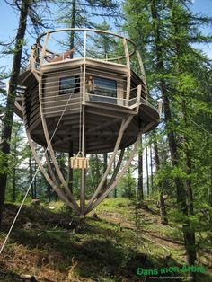 I like this treehouse, but I would want a bigger one to live in. This one would be fun to go inside of and chillax.