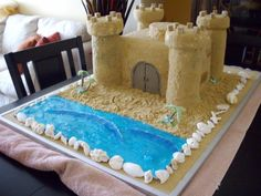 Sand Castle Cake for Hawiian Wedding