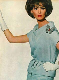 Wilhelmina. Vogue, December 1963.1960's fashion