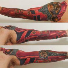Robot Arm - Pink Elephant - Aaron R - Ankeny, IA : tattoos Cyborg Tattoo, Biomechanical Tattoo, Small Tattoos, Tattoos For Guys, Cool Tattoos, Tatoos, 3d Tattoos, Awesome Tattoos, Japanese Sleeve Tattoos