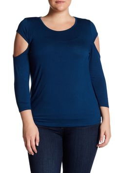 3/4 Length Sleeve Cutout Shirt (Plus Size) by 14th & Union on @nordstrom_rack