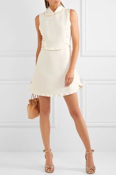 Miu Miu | Embellished ruffled wool and silk-blend mini dress | NET-A-PORTER.COM