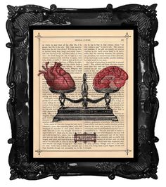 Dictionary print SCALE human HEART BRAIN on dictionary book page art print upcycled Heart balance scale black white. via Etsy.