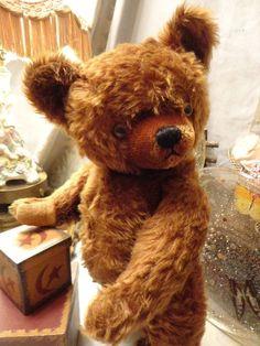 "18"" TEDDY BEAR ANTIQUE KNICKERBOCKER 1940s CINNAMON MOHAIR STAR SPANGLE EYES #Knickerbocker #AllOccasion"