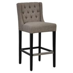 """Showcasing a sophisticated wingback silhouette, this birch-framed stool is perfect for enjoying fresh cocktails and light lunches at the bar.  Product: StoolConstruction Material: Birch wood and linenColor: Seagrass and deep chocolate brownFeatures:  Counter stool has a seat height of 24"""" and barstool has a seat height of 30""""Tufted Dimensions: Barstool: 42"""" H x 20"""" W x 23"""" DCounter Stool: 36"""" H x 20"""" W x 23"""" D"""