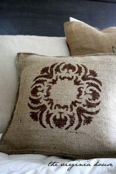 Burlap Brown Decorative Stenciled Pillow. $23.00, via Etsy.