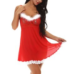 e071922c3 Women Sexy Lace Dress Lingerie Red Chemise Sleepwear Xmas Christmas  Underwear US Dress Lingerie
