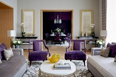 Living room looking onto dining room of a lateral apartment in One Kensington Gardens, London || Taylor Howes Designs