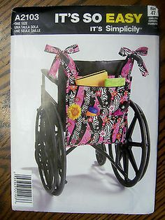 Bag For Walker, Wheelchair or Lounge Chair - Simplicity Pattern A2103 - New