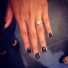 One of our customers with her Beverley K engagement ring and new nail art at our 2012 FNO party.