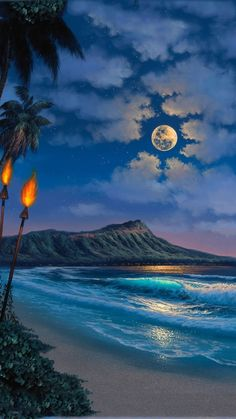 Art and Paintings by Artists Wyland, James Coleman, Rodel Gonzalez, Dan Mackin, Hawaii Painting, Moon Beach, Hawaii Pictures, Hawaiian Art, Romantic Pictures, Beautiful Pictures, Beaches In The World, Landscape Illustration, Background Pictures