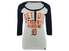 Detroit Tigers 5th and Ocean MLB Womens Opening Night Stripe Henley T-Shirt
