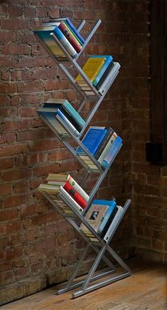 Simple Steel Bookcases Design with Corian or Bamboo Shelves by Faktura - Trendy Bookcase