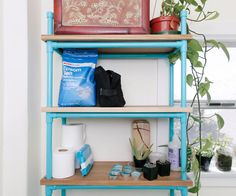 Looking for DIY storage ideas for small spaces? Try out this Genius Painted PVC DIY Shelf. This DIY project helps you make a fabulous DIY organizer. Working with PVC is easy and makes it simple to customize this DIY shelf for your storage needs. Small Bathroom Storage, Bathroom Organisation, Bathroom Shelves, Diy Organization, Bathroom Ideas, Diy Organizer, Shower Ideas, Organizing, Towel Storage