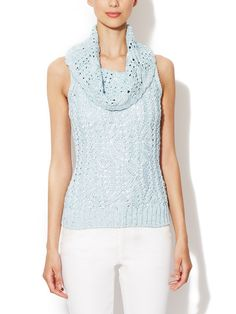 Silk Cable Knit Cowlneck Top from Luxe Textures Feat. Les Copains on Gilt