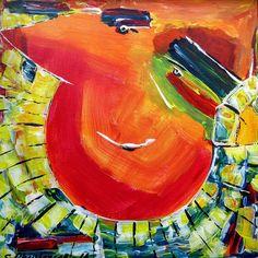 Happy Tiki Man akryl på lærred  (40x40) 2016 af Svend Christensen
