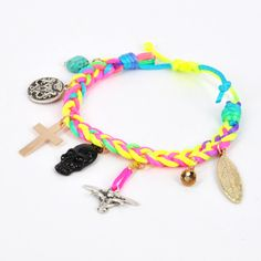 Braided Rainbow Neon Color Woven Rope Bracelet with