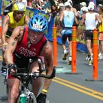 Competitors come in and out of T2 at the 2007 Ironman World Championships in Kailua-Kona, Hawaii.